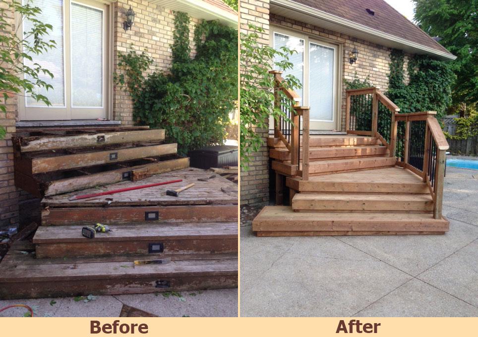 Before and after image of deck on prodeckbuilder